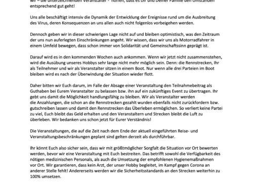 COVID-19/Corona, gemeinsame Erklärung deutscher Renntrainingsanbieter